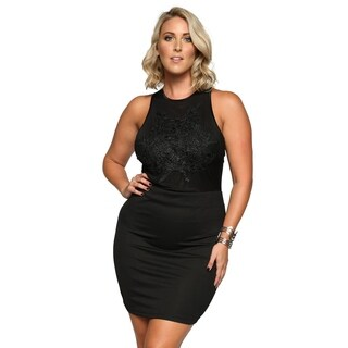 Xehar Womens Plus Size Open Back Floral Applique Short Evening Dress