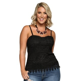 Xehar Womens Plus Size Sexy Crochet Lace Front Bodice Cami Top