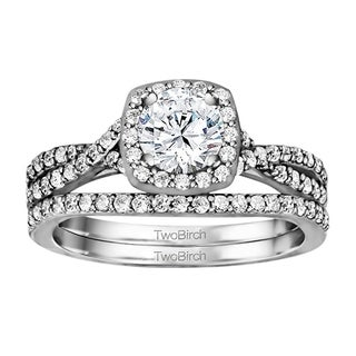 TwoBirch Bridal Set (Two Rings) in 10k Gold and Diamonds (G,I2) (1.69 tw) - Clear