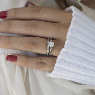 TwoBirch Bridal Set (Two Rings) in 10k Gold and Diamonds (G,I2) (1.33tw ) - Clear