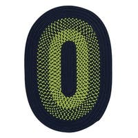 Clearwater Neon Green Navy Area Rug - 5' x 8'