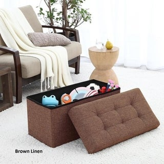 Ellington Home Foldable Tufted Linen Large Storage Ottoman Bench Foot Rest Stool