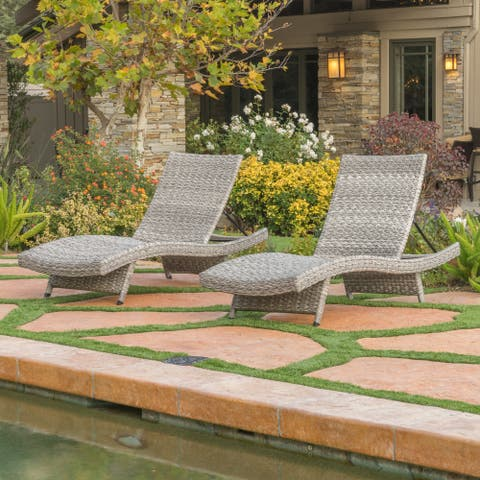 Crete Outdoor Wicker/Aluminum Chaise Lounge (Set of 2) by Christopher Knight Home