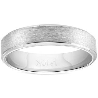 Bliss 10k White Gold 5mm Brushed Flat Mens Comfort Fit Wedding Band