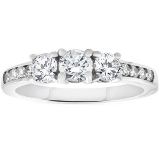 Bliss 14K White Gold 1 ct TDW Three Stone Diamond Engagement Ring