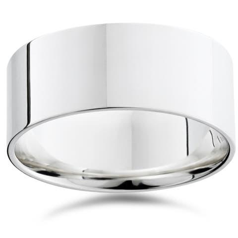 Pompeii3 950 Platinum Plain High Polished Ring 9mm Flat Wedding Band - White