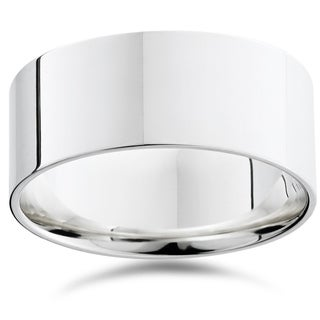 Bliss 950 Platinum Plain High Polished Ring 9mm Flat Wedding Band - White (More options available)