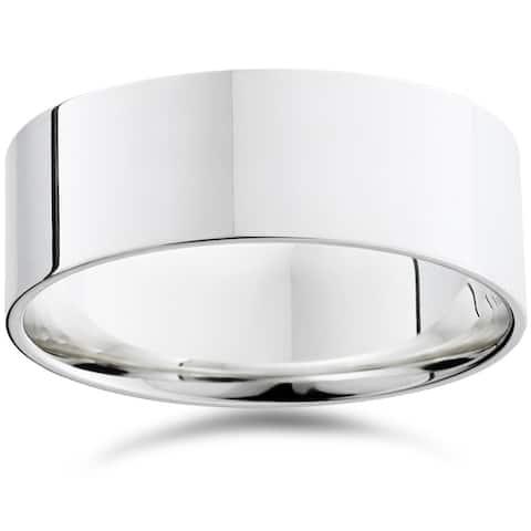 Pompeii3 950 Platinum Plain High Polished Ring 8mm Dome Wedding Band - White
