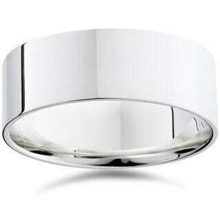 Bliss 950 Platinum Plain High Polished Ring 8mm Dome Wedding Band - White