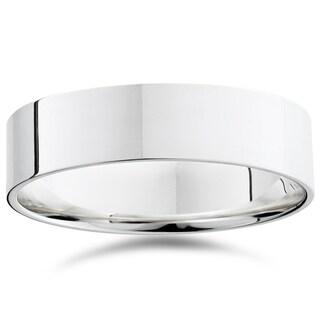 Bliss 950 Platinum Plain High Polished Ring 6mm Flat Wedding Band - White