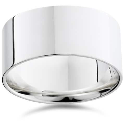 Pompeii3 950 Platinum Plain High Polished Ring 10mm Flat Wedding Band - White