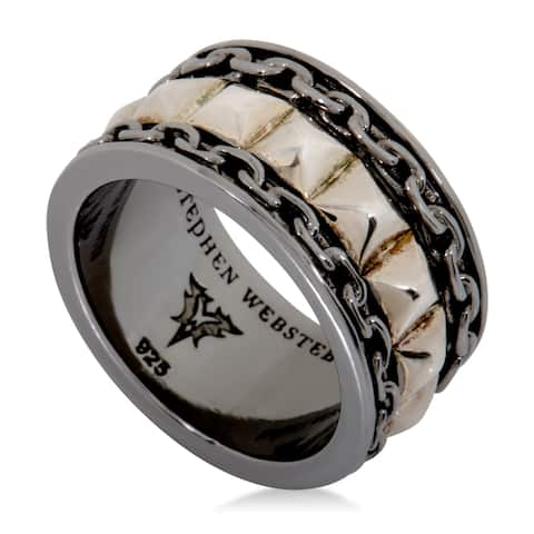 Alchemy in the UK Mens Gold Tone Silver Chain Band Ring