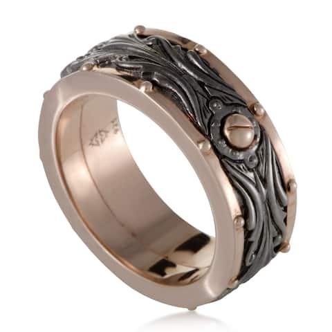 London Calling Mens Rose Gold Plated Silver Rotating Band Ring