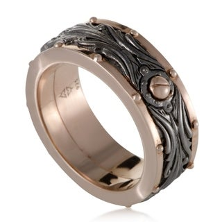 London Calling Mens Rose Gold Plated Silver Rotating Band Ring