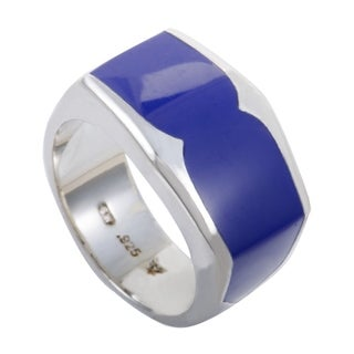 Stephen Webster Highwayman Mens Silver and Inlaid Lapis Lazuli Band Ring (2 options available)
