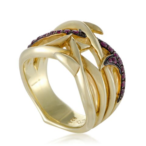 Stephen Webster Thorn Womens Gold Plated Silver and Ruby Band Ring