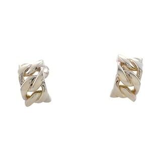Hermes Silver Huggie Link Earrings H04-090314
