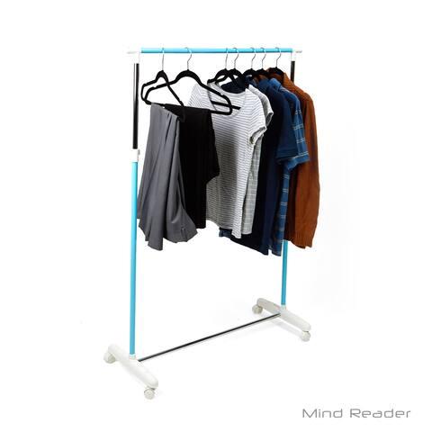 Mind Reader Metal Single Rolling Garment Rack, Blue