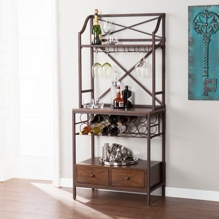 Harper Blvd Arista Brown w/ Dark Pine Bakers Rack/Microwave Stand