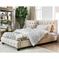 Furniture of America Angen Transitional Tufted Twin-size Corner Bed