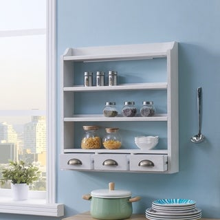 The Gray Barn Oriaga White Wall Mount Organizer/Spice Rack