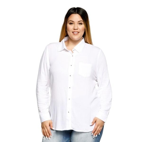 a2fa10b0cc5 Shop Xehar Womens Plus Size Casual Office Button Down Collared Shirt ...