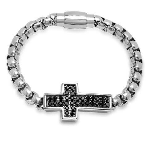 Steeltime Men's Stainless Steel Black Cubic Zirconia Cross Bracelet