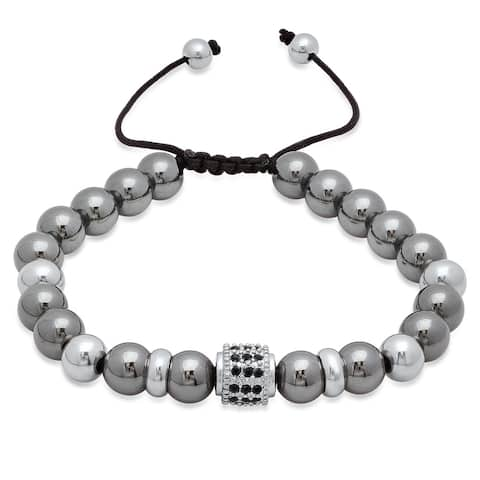 Steeltime Men's Hematite Beaded Drawstring Bracelet with Black Cubic Zirconia in 2 Colors