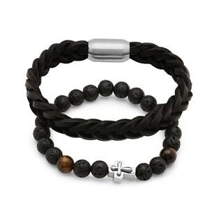 Steeltime Men's Set of 2 Black Lava Beaded Bracelet with Black Braided Leather Bracelet