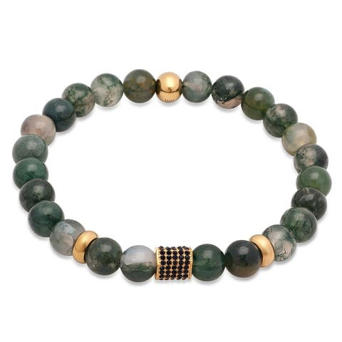 Steeltime Men's Simulated Jade Beaded Bracelet with Gold Tone Beads and Black Cubic Zirconia