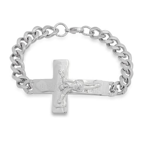Steeltime Men's Stainless Steel Lord's Prayer Crucifix Bracelet in 2 Colors