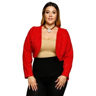 Xehar Womens Plus Size Chevron Sequin Bolero Cardigan Sweater