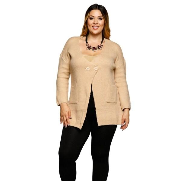 87a7d9550b5f1 Shop Xehar Womens Plus Size Double Front Pockets Cardigan Sweater ...