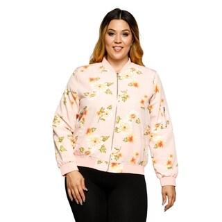 Xehar Womens Plus Size Floral Print Front Zip Bomber Jacket