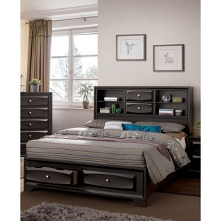 Furniture of America Bosch II Contemporary Antique Grey Storage Bed with Bookcase