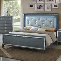 Furniture of America Curtis Contemporary Tufted Bed with LED trim