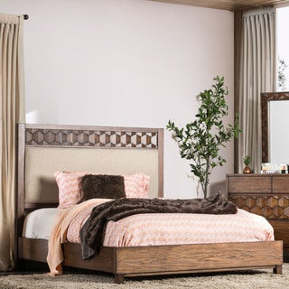 Furniture of America Curtiz Rustic Upholstered Bed