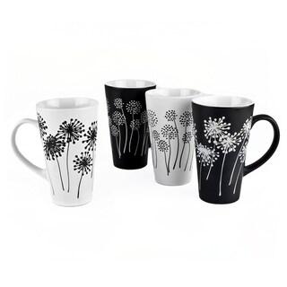 18 oz Coffee Tea Ceramic Travel Mug Cup Set of 4 Dandelions Mugs