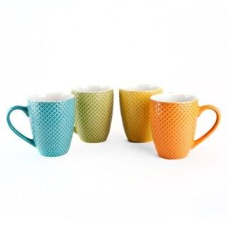 17 oz Coffee Tea Ceramic Travel Mug Cup Set of 4 Colors Fishnet Mugs