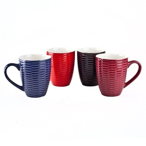 17 Oz Coffee Tea Ceramic Travel Mug Cup Set Of 4 Colors Netted Mugs