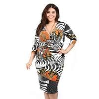 Xehar Womens Plus Size Mixed Print Bodycon V-Neck Dress