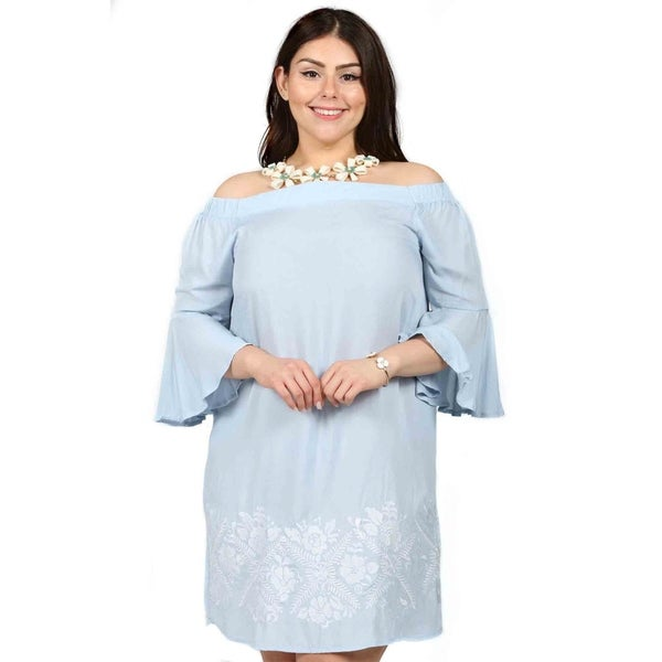 7aac23e037c Shop Xehar Womens Plus Size Floral Embroidered Bell Sleeve Dress ...