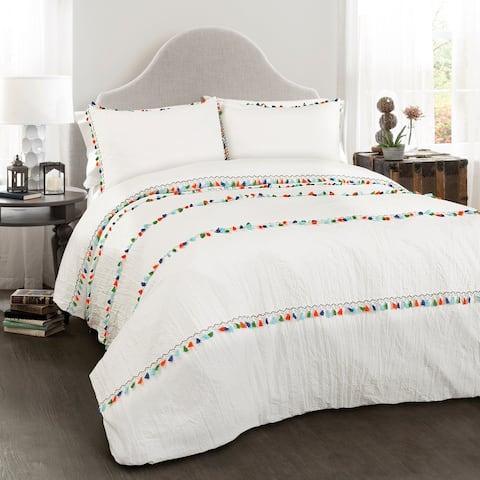 Lush Decor Boho Tassel 3 Piece Comforter Set