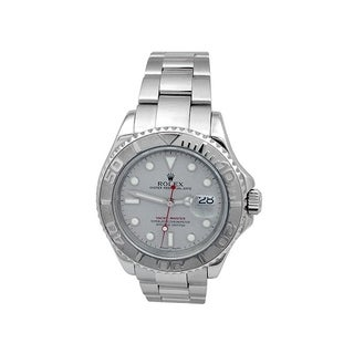 Pre-owned 40mm Rolex Stainless Steel Oyster Perpetual Yachtmaster Watch with Platinum Dial