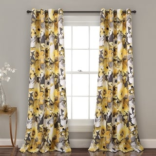 Lush Decor Floral Watercolor Room Darkening Window Curtain Panel Pair