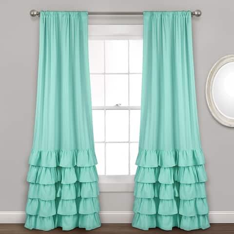 "Lush Decor Allison Ruffle Window Curtain Panel Pair - 40""w x 84""l"