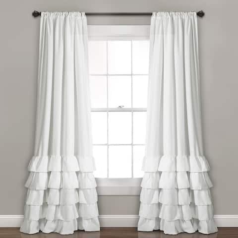 Lush Decor Allison Ruffle Window Curtain Panel Pair