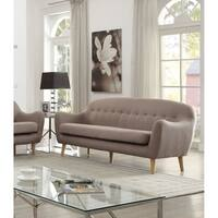 Malaya Light Brown Linen Upholstered Sofa