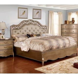 Furniture of America Darl Traditional Gold Solid Wood Tufted Bed