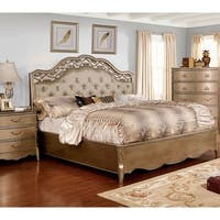 Daphne Traditional Brushed Gold Tufted Bed by FOA